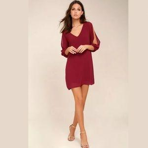 LuLus Shifting Dears Red Cold Shoulder Shift Dress